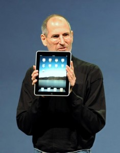 Steve Jobs with an iPad